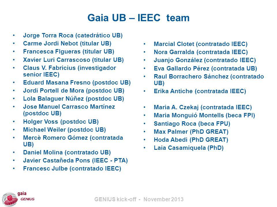 GENIUS kick-off - November 2013 Gaia UB – IEEC team Jorge Torra Roca (catedrático UB) Carme Jordi Nebot (titular UB) Francesca FIgueras (titular UB) Xavier Luri Carrascoso (titular UB) Claus V.
