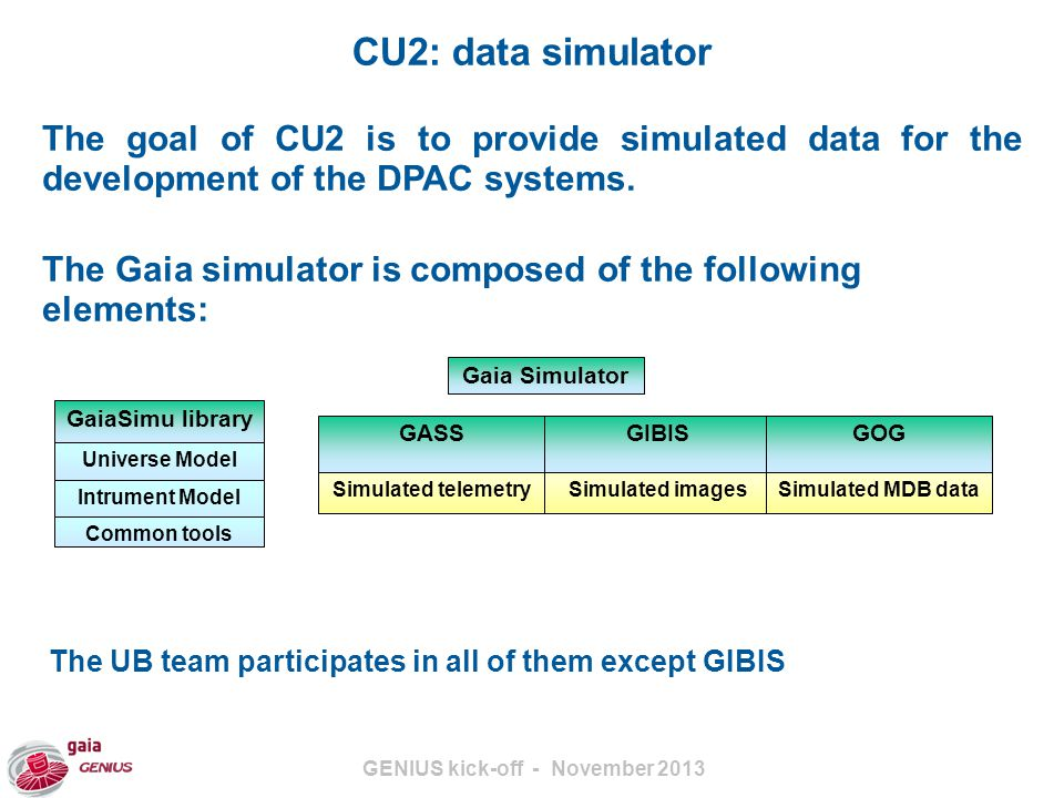 GENIUS kick-off - November 2013 CU3: core processing UB participation includes: IDT: Initial data treatment Daily processing of telemetry IDU: Intermediate data update Global repreocessinf of raw data using the latest calibrations and algorithms Run at the MareNostrum supercomputer