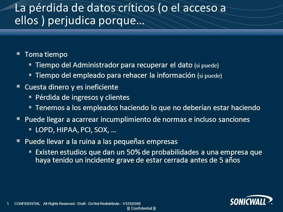 ||| Confidential ||| CONFIDENTIAL All Rights Reserved - Draft - Do Not Redistribute - 1/125/2009 1 La pérdida de datos críticos (o el acceso a ellos )