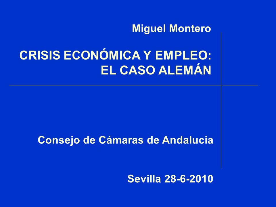CRISIS ECONÓMICA Y EMPLEO: EL CASO ALEMÁN Consejo de Cámaras de Andalucia Sevilla 28-6-2010 Miguel Montero