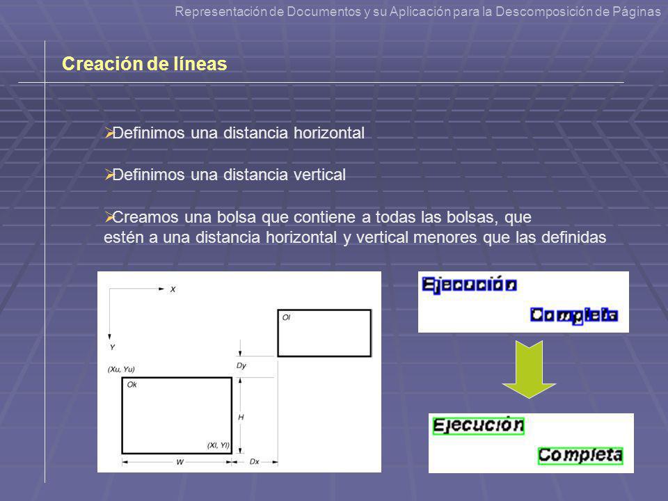 Creación de líneas Definimos una distancia horizontal Definimos una distancia vertical Creamos una bolsa que contiene a todas las bolsas, que estén a