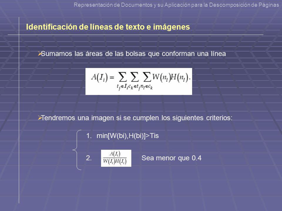 Identificación de líneas de texto e imágenes Sumamos las áreas de las bolsas que conforman una línea 1.min[W(bi),H(bi)]>Tis 2.Sea menor que 0.4 Repres