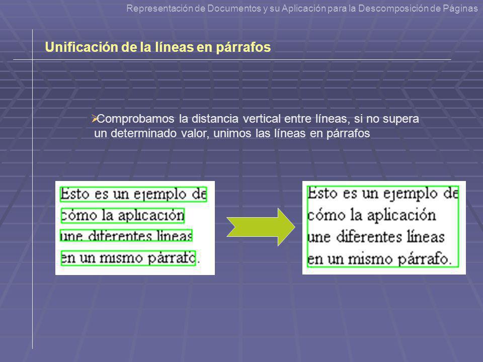 Unificación de la líneas en párrafos Comprobamos la distancia vertical entre líneas, si no supera un determinado valor, unimos las líneas en párrafos