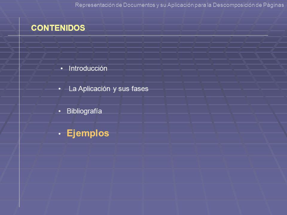 Representación de Documentos y su Aplicación para la Descomposición de Páginas CONTENIDOS La Aplicación y sus fases Ejemplos Introducción Bibliografía