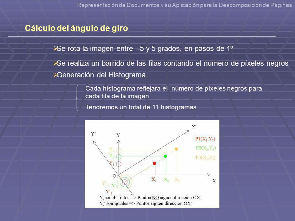 Cálculo del ángulo de giro Generación del Histograma Se rota la imagen entre -5 y 5 grados, en pasos de 1º Cada histograma reflejara el número de píxe
