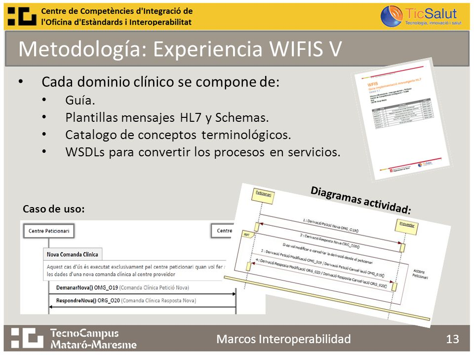 13 Cada dominio clínico se compone de: Guía. Plantillas mensajes HL7 y Schemas.