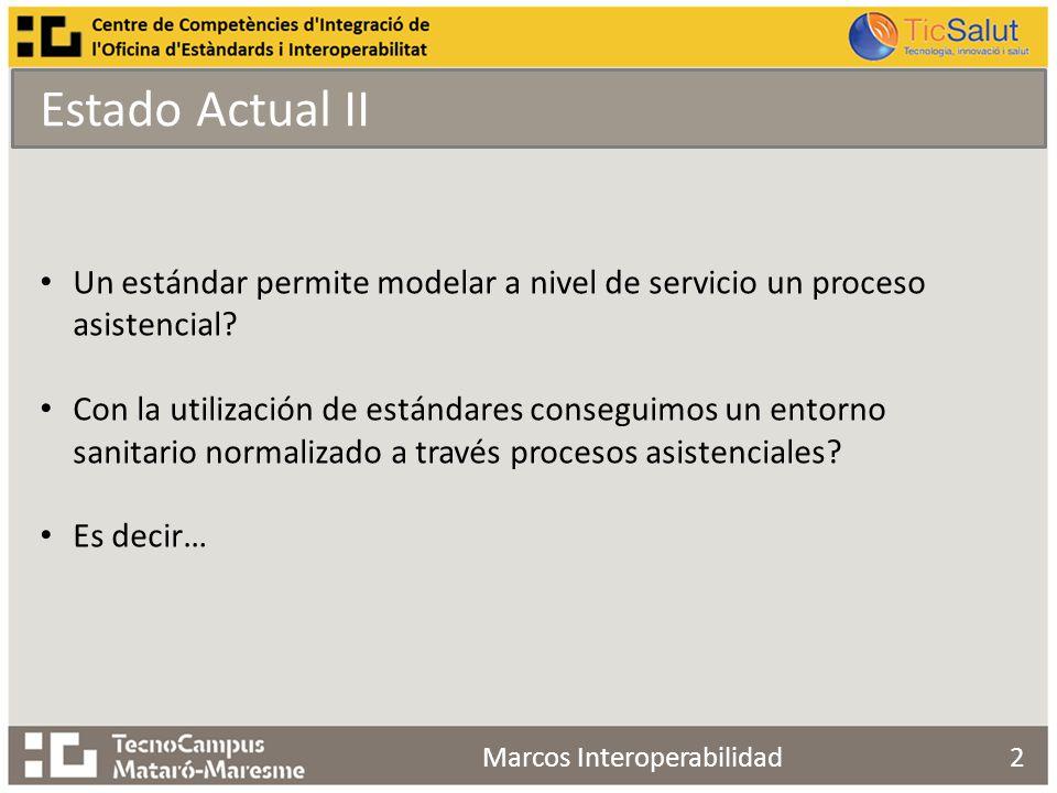 Estado Actual II 2 Un estándar permite modelar a nivel de servicio un proceso asistencial.