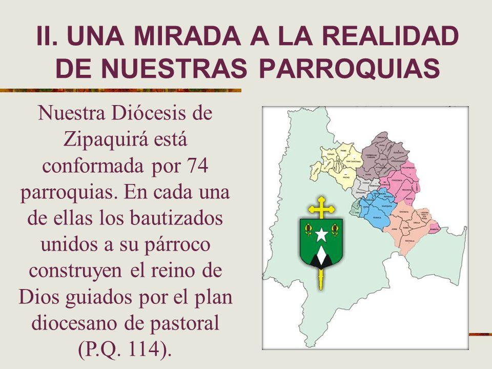 Nuestra Diócesis de Zipaquirá está conformada por 74 parroquias. En cada una de ellas los bautizados unidos a su párroco construyen el reino de Dios g