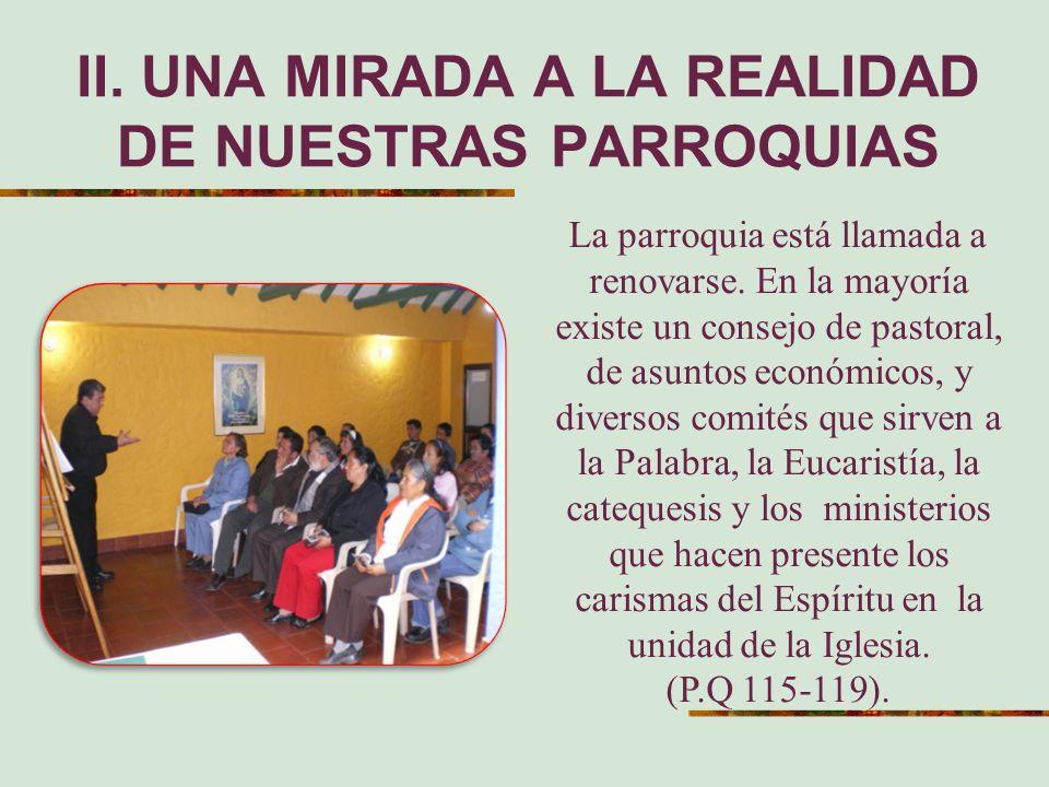 II. UNA MIRADA A LA REALIDAD DE NUESTRAS PARROQUIAS La parroquia está llamada a renovarse. En la mayoría existe un consejo de pastoral, de asuntos eco