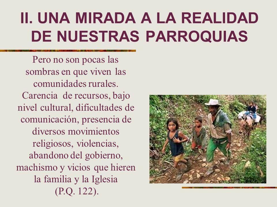 II. UNA MIRADA A LA REALIDAD DE NUESTRAS PARROQUIAS Pero no son pocas las sombras en que viven las comunidades rurales. Carencia de recursos, bajo niv