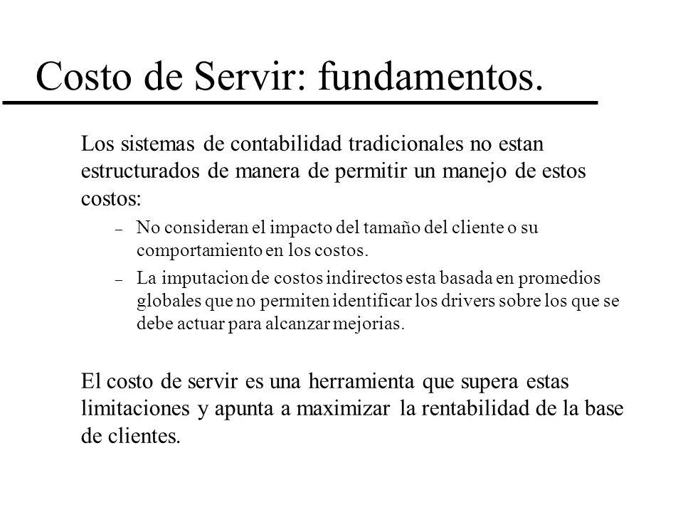 Costo de Servir: fundamentos. Los sistemas de contabilidad tradicionales no estan estructurados de manera de permitir un manejo de estos costos: – No