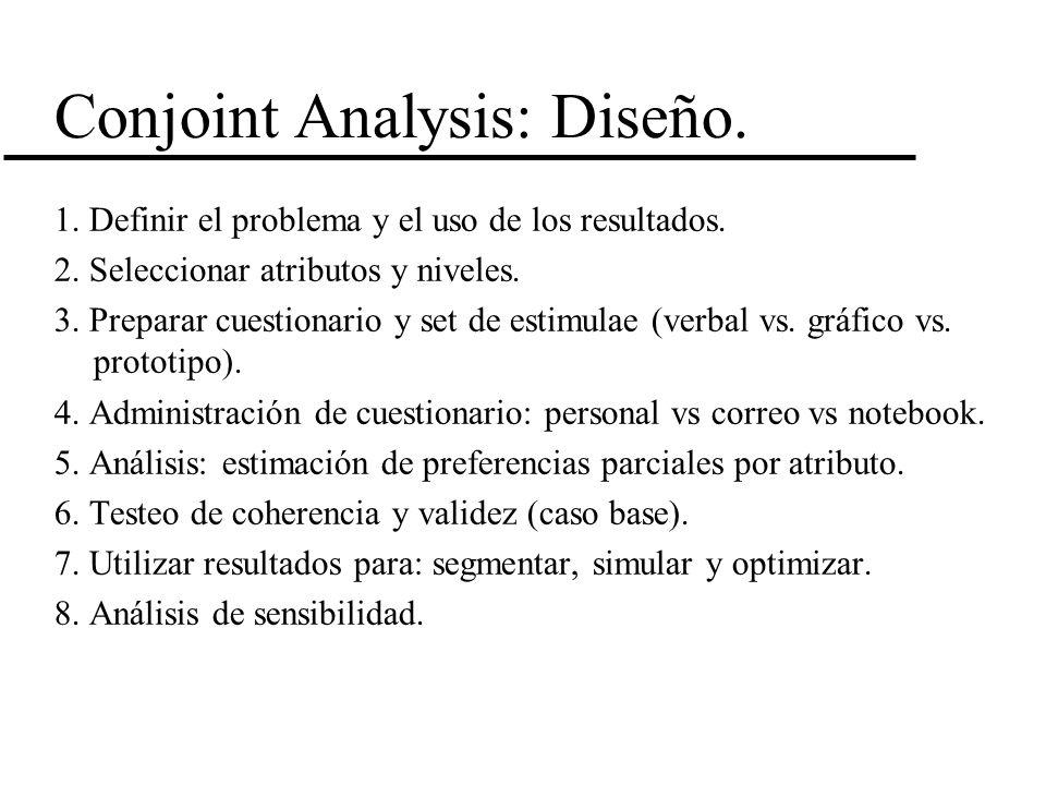 Conjoint Analysis: Diseño. 1. Definir el problema y el uso de los resultados. 2. Seleccionar atributos y niveles. 3. Preparar cuestionario y set de es