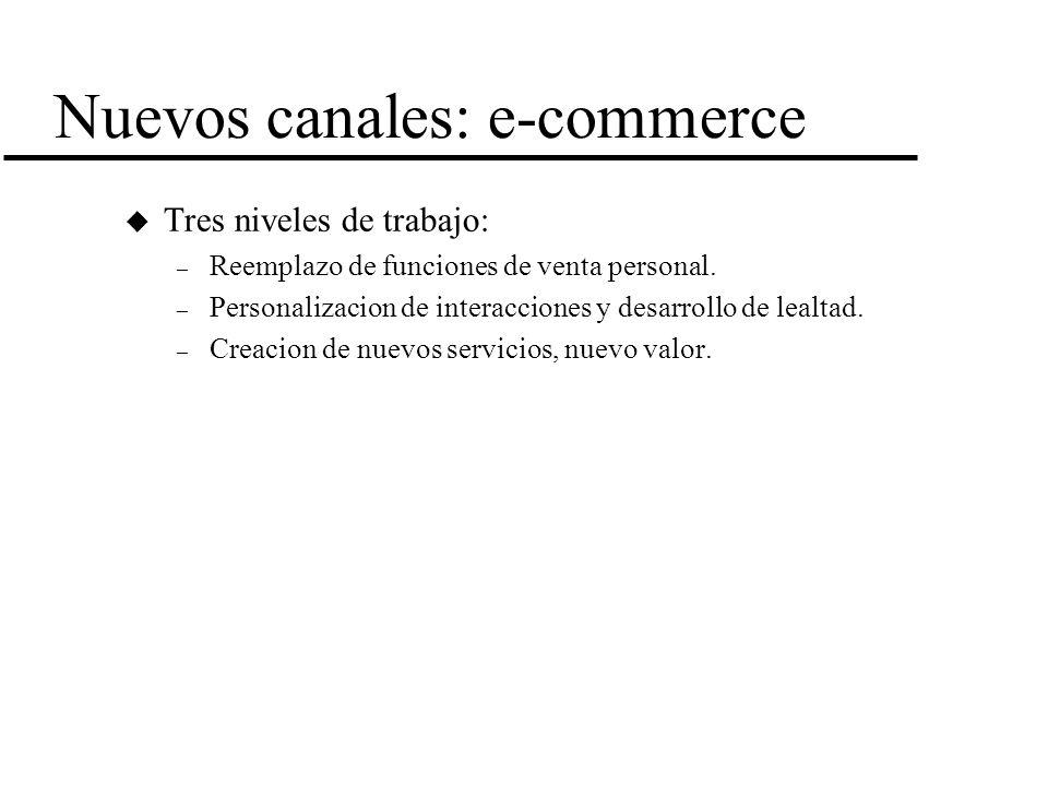 Nuevos canales: e-commerce u Tres niveles de trabajo: – Reemplazo de funciones de venta personal. – Personalizacion de interacciones y desarrollo de l