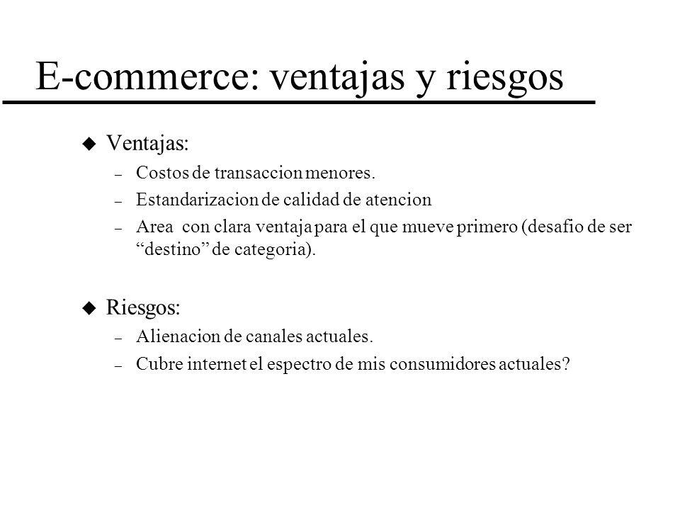 E-commerce: ventajas y riesgos u Ventajas: – Costos de transaccion menores. – Estandarizacion de calidad de atencion – Area con clara ventaja para el