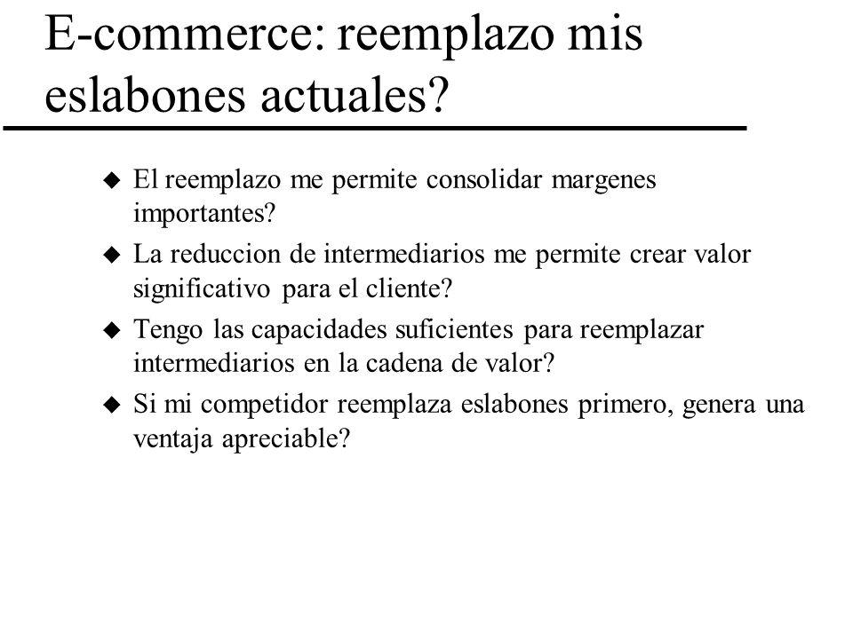 E-commerce: reemplazo mis eslabones actuales? u El reemplazo me permite consolidar margenes importantes? u La reduccion de intermediarios me permite c