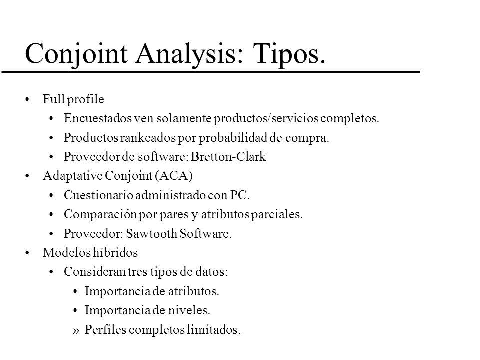 Conjoint Analysis: Tipos. Full profile Encuestados ven solamente productos/servicios completos. Productos rankeados por probabilidad de compra. Provee