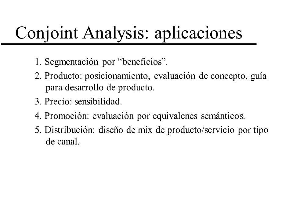 Conjoint Analysis: aplicaciones 1. Segmentación por beneficios. 2. Producto: posicionamiento, evaluación de concepto, guía para desarrollo de producto