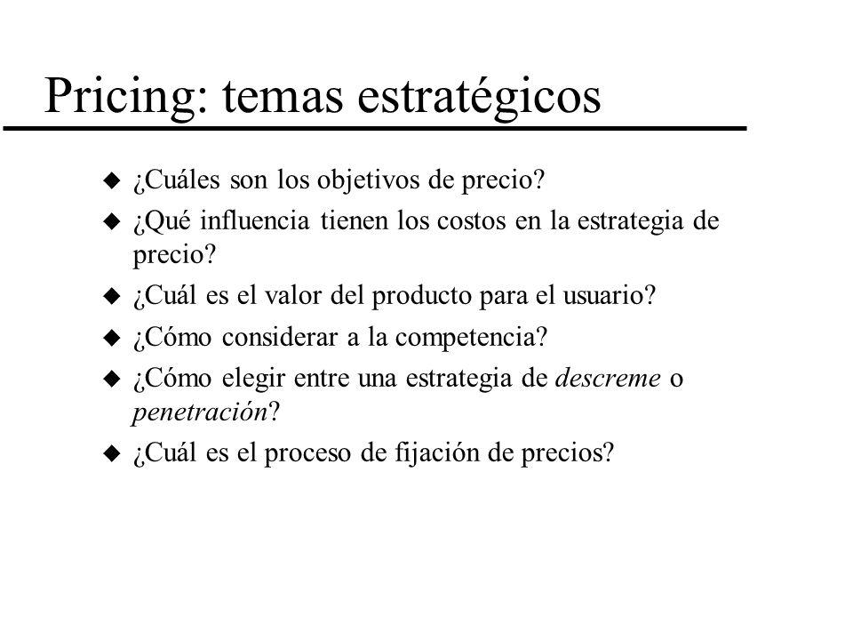 Pricing: temas estratégicos u ¿Cuáles son los objetivos de precio? u ¿Qué influencia tienen los costos en la estrategia de precio? u ¿Cuál es el valor