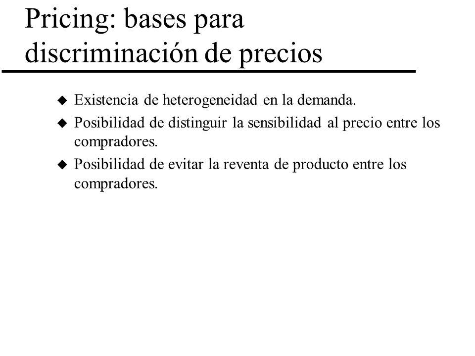 Pricing: bases para discriminación de precios u Existencia de heterogeneidad en la demanda. u Posibilidad de distinguir la sensibilidad al precio entr
