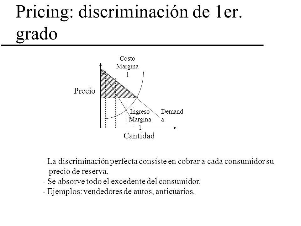 Pricing: discriminación de 1er. grado Costo Margina l Cantidad Precio Demand a Ingreso Margina l - La discriminación perfecta consiste en cobrar a cad
