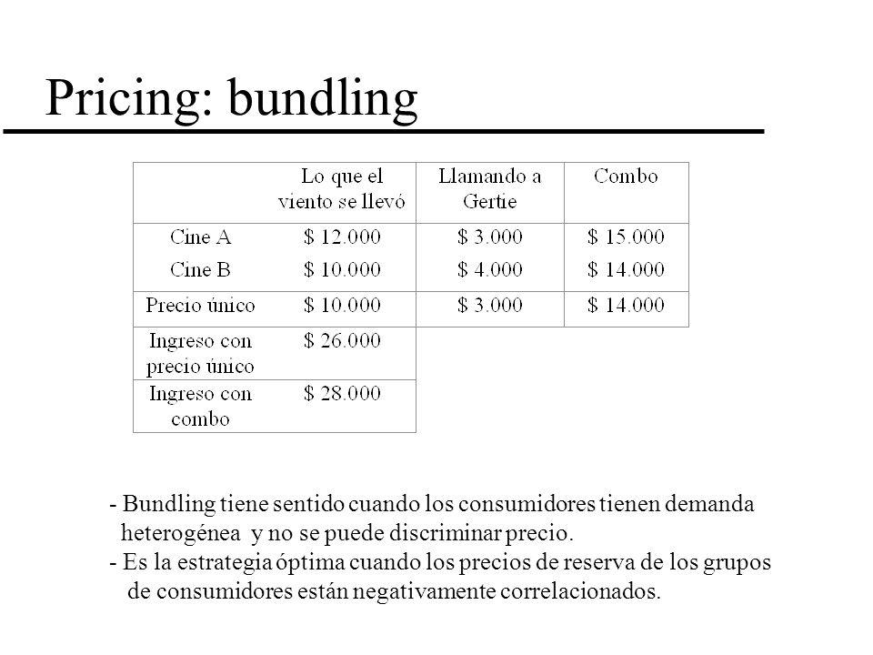 Pricing: bundling - Bundling tiene sentido cuando los consumidores tienen demanda heterogénea y no se puede discriminar precio. - Es la estrategia ópt
