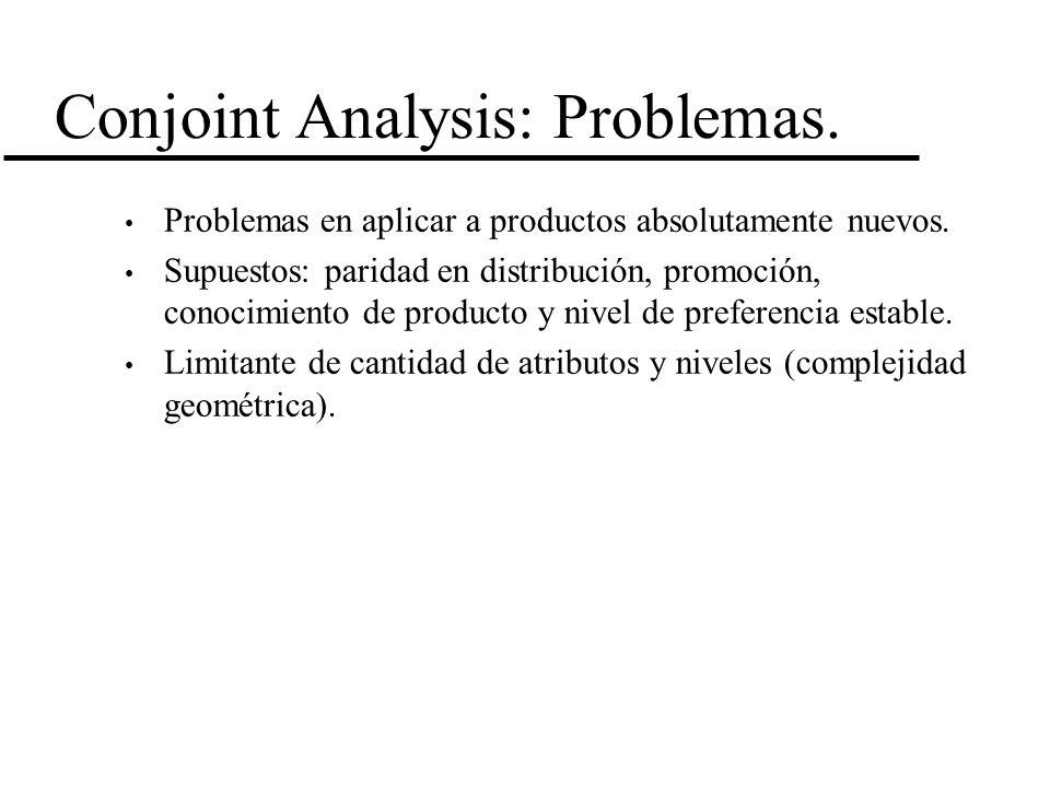 Conjoint Analysis: Problemas. Problemas en aplicar a productos absolutamente nuevos. Supuestos: paridad en distribución, promoción, conocimiento de pr