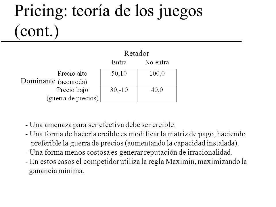 Pricing: teoría de los juegos (cont.) Retador Dominante - Una amenaza para ser efectiva debe ser creíble. - Una forma de hacerla creíble es modificar