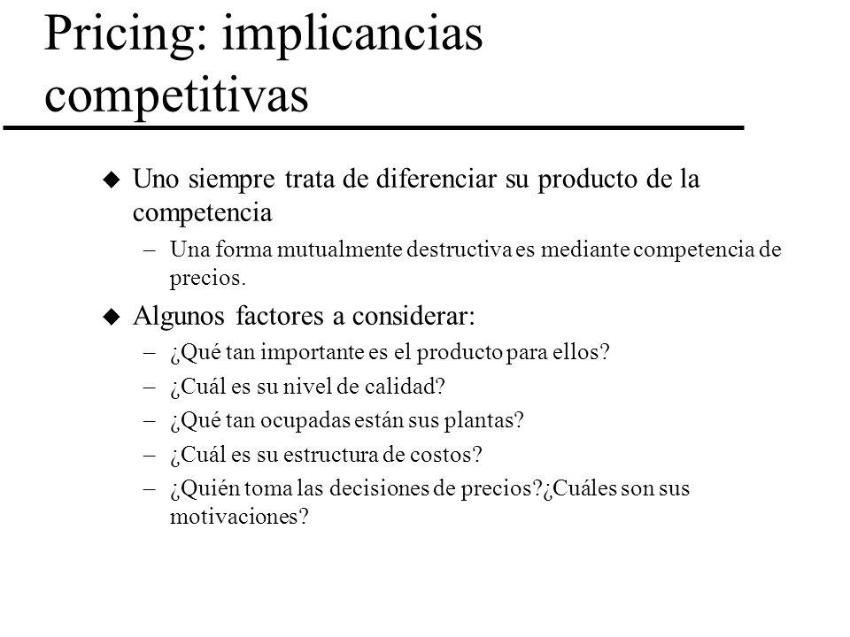 Pricing: implicancias competitivas u Uno siempre trata de diferenciar su producto de la competencia –Una forma mutualmente destructiva es mediante com