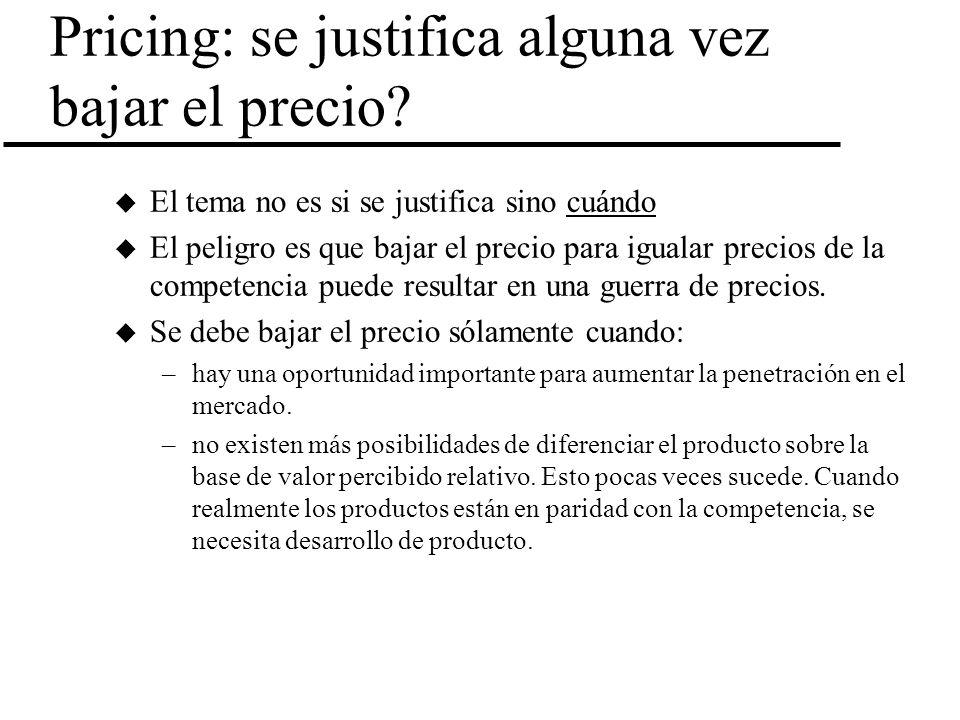 Pricing: se justifica alguna vez bajar el precio? u El tema no es si se justifica sino cuándo u El peligro es que bajar el precio para igualar precios
