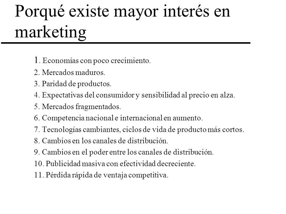 Porqué existe mayor interés en marketing 1. Economías con poco crecimiento. 2. Mercados maduros. 3. Paridad de productos. 4. Expectativas del consumid