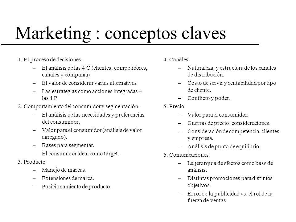 Marketing : conceptos claves 1. El proceso de decisiones. –El análisis de las 4 C (clientes, competidores, canales y companía) –El valor de considerar
