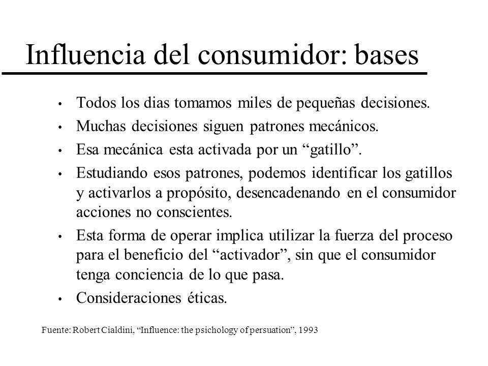 Influencia del consumidor: bases Todos los dias tomamos miles de pequeñas decisiones. Muchas decisiones siguen patrones mecánicos. Esa mecánica esta a