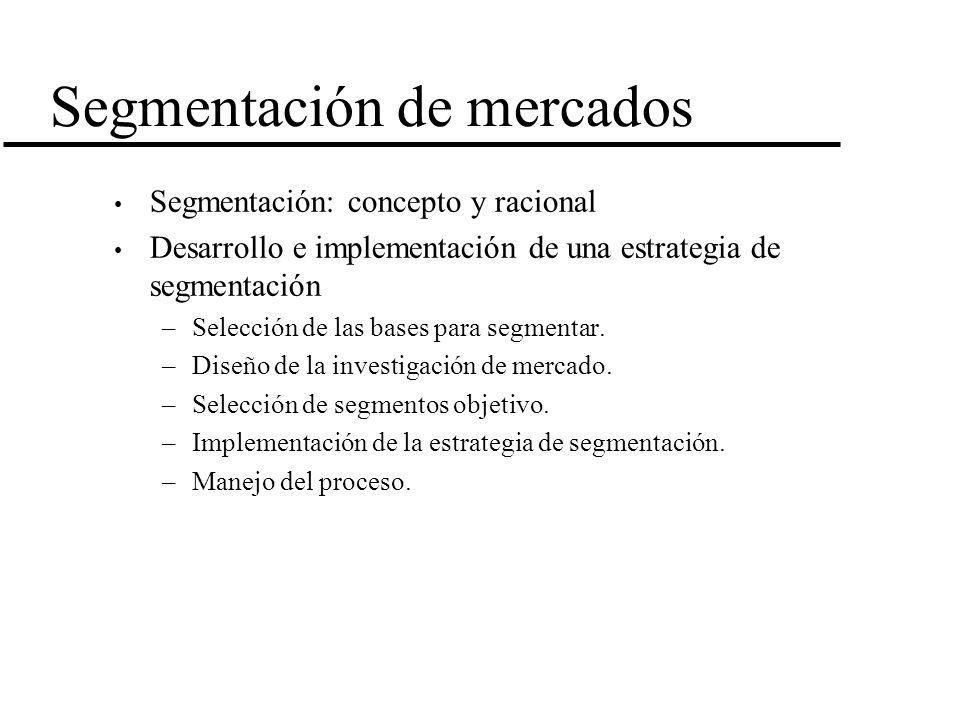 Segmentación de mercados Segmentación: concepto y racional Desarrollo e implementación de una estrategia de segmentación –Selección de las bases para