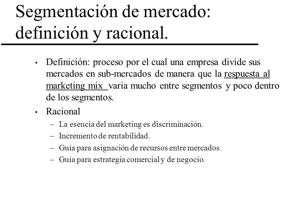 Segmentación de mercado: definición y racional. Definición: proceso por el cual una empresa divide sus mercados en sub-mercados de manera que la respu