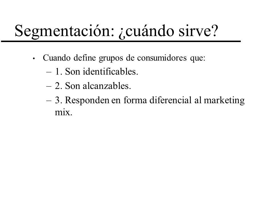 Segmentación: ¿cuándo sirve? Cuando define grupos de consumidores que: –1. Son identificables. –2. Son alcanzables. –3. Responden en forma diferencial