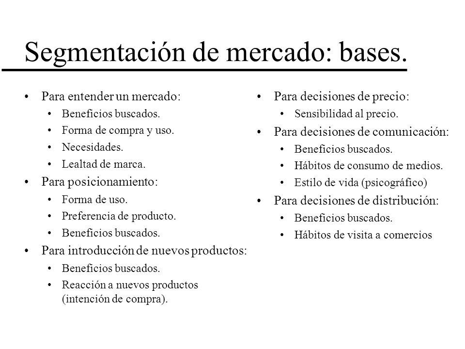 Segmentación de mercado: bases. Para entender un mercado: Beneficios buscados. Forma de compra y uso. Necesidades. Lealtad de marca. Para posicionamie