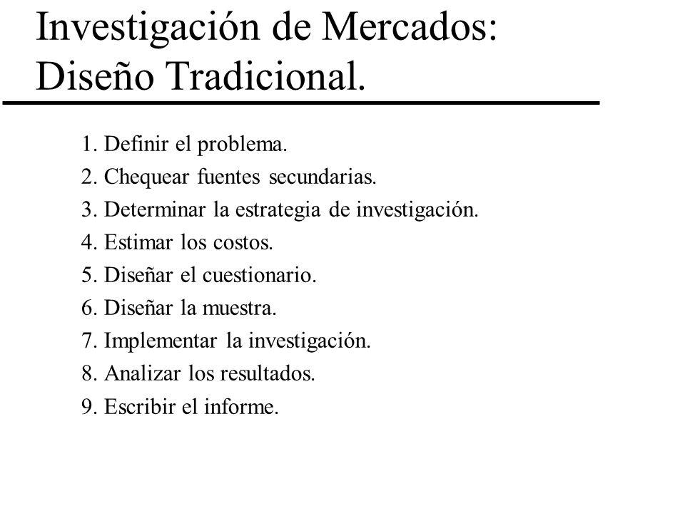 Investigación de Mercados: Diseño Tradicional. 1. Definir el problema. 2. Chequear fuentes secundarias. 3. Determinar la estrategia de investigación.