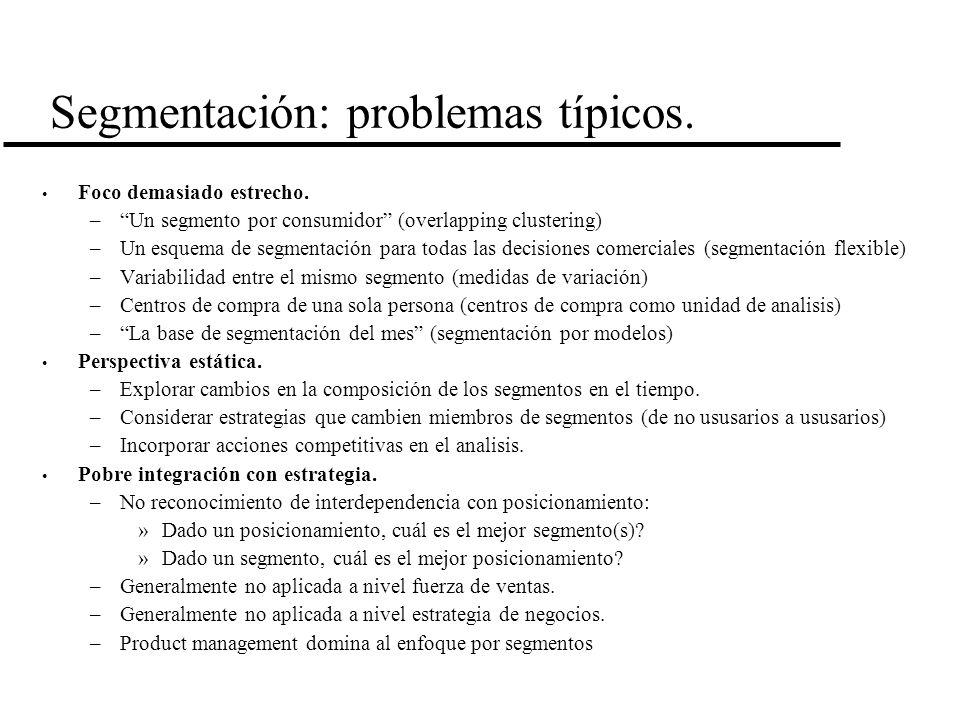 Segmentación: problemas típicos. Foco demasiado estrecho. –Un segmento por consumidor (overlapping clustering) –Un esquema de segmentación para todas