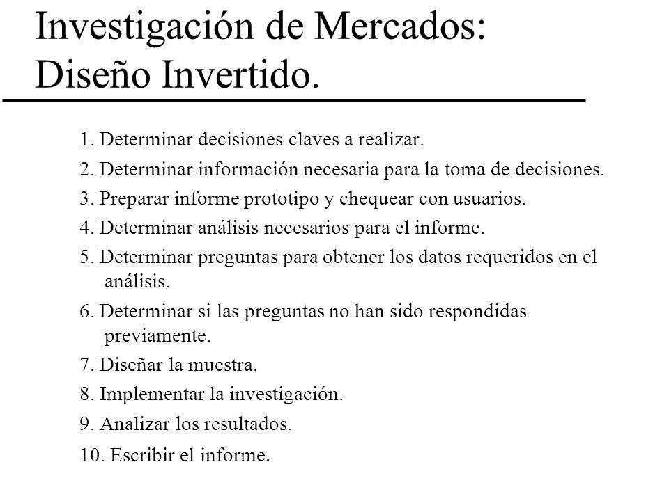 Investigación de Mercados: Diseño Invertido. 1. Determinar decisiones claves a realizar. 2. Determinar información necesaria para la toma de decisione