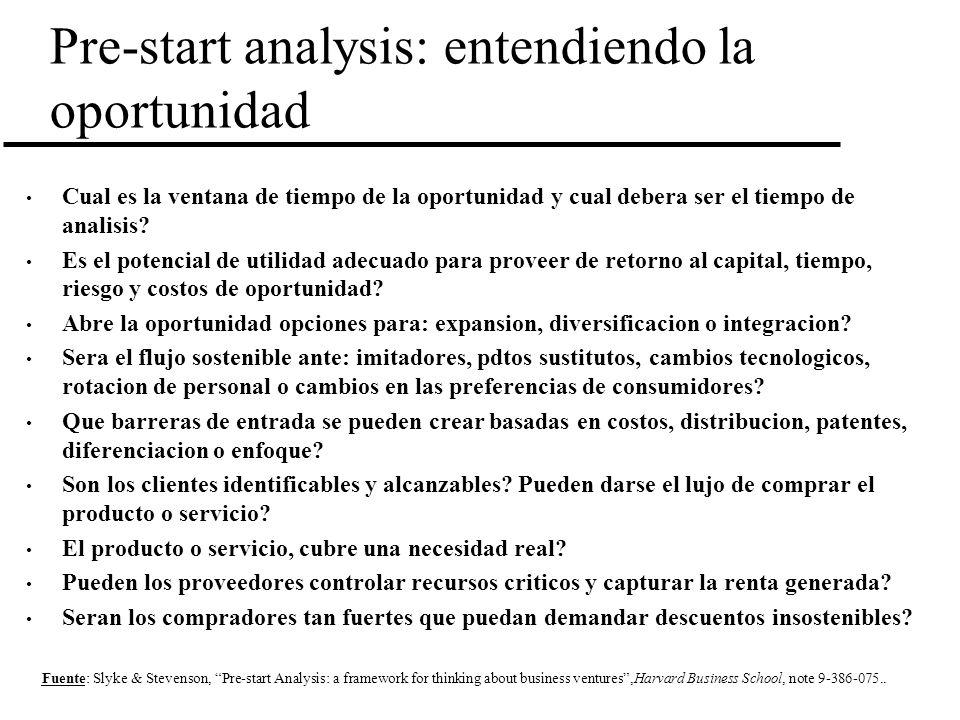 Pre-start analysis: entendiendo la oportunidad Cual es la ventana de tiempo de la oportunidad y cual debera ser el tiempo de analisis? Es el potencial