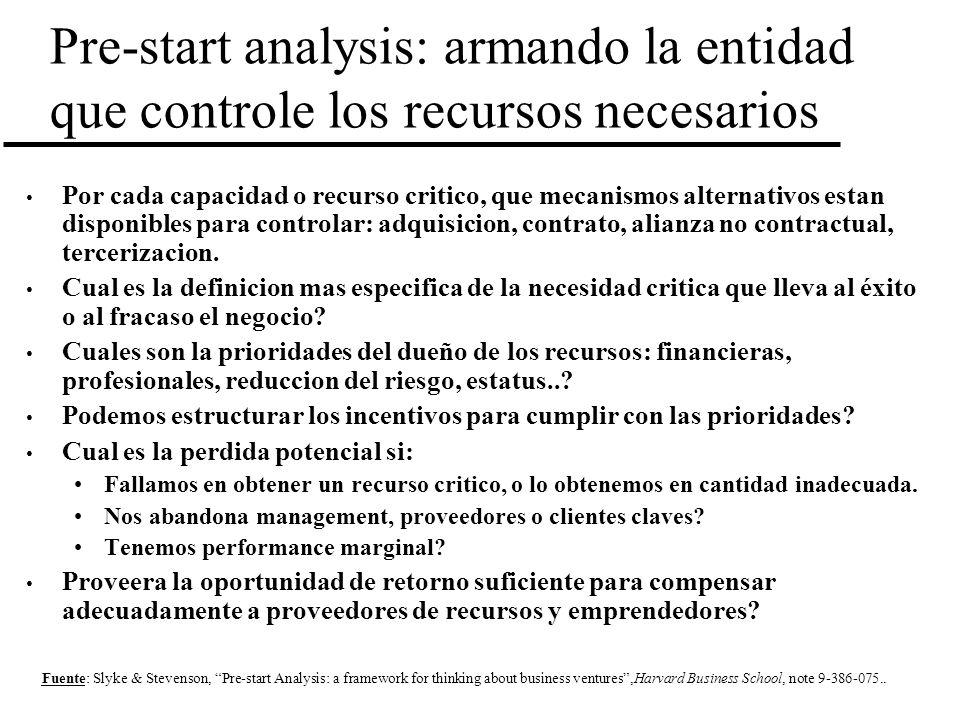 Pre-start analysis: armando la entidad que controle los recursos necesarios Por cada capacidad o recurso critico, que mecanismos alternativos estan di