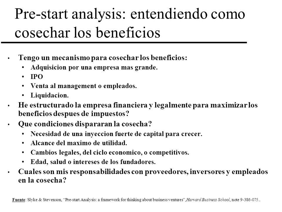 Pre-start analysis: entendiendo como cosechar los beneficios Tengo un mecanismo para cosechar los beneficios: Adquisicion por una empresa mas grande.