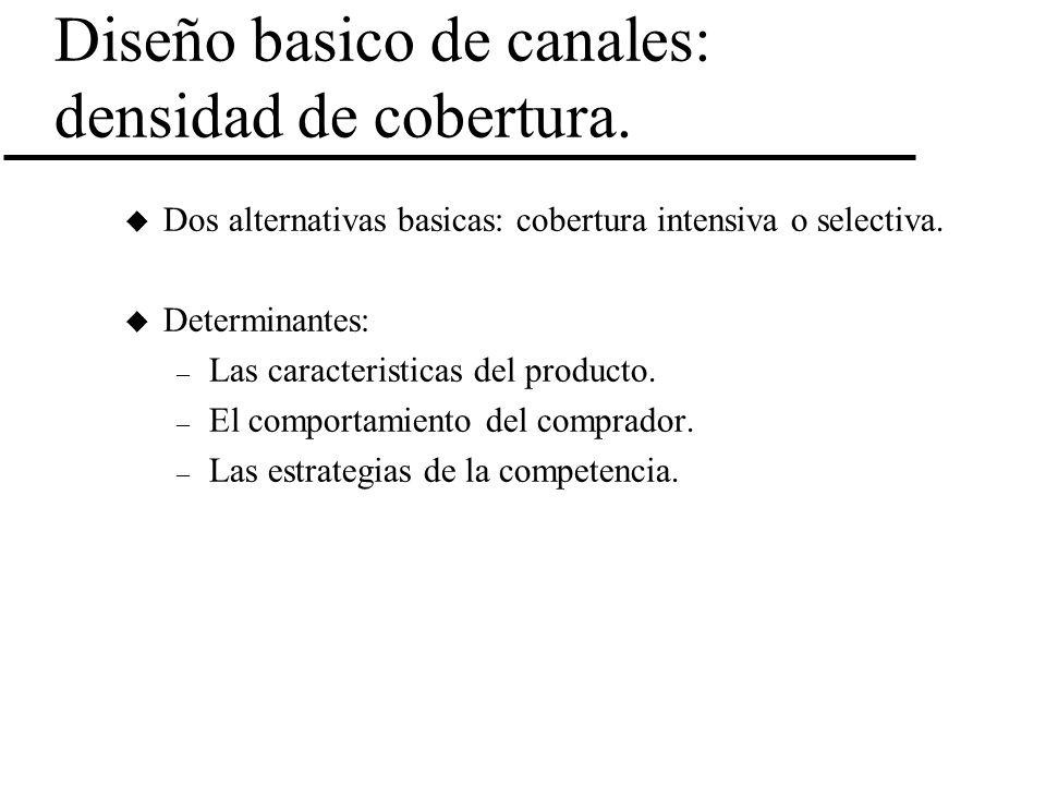 Diseño basico de canales: densidad de cobertura. u Dos alternativas basicas: cobertura intensiva o selectiva. u Determinantes: – Las caracteristicas d
