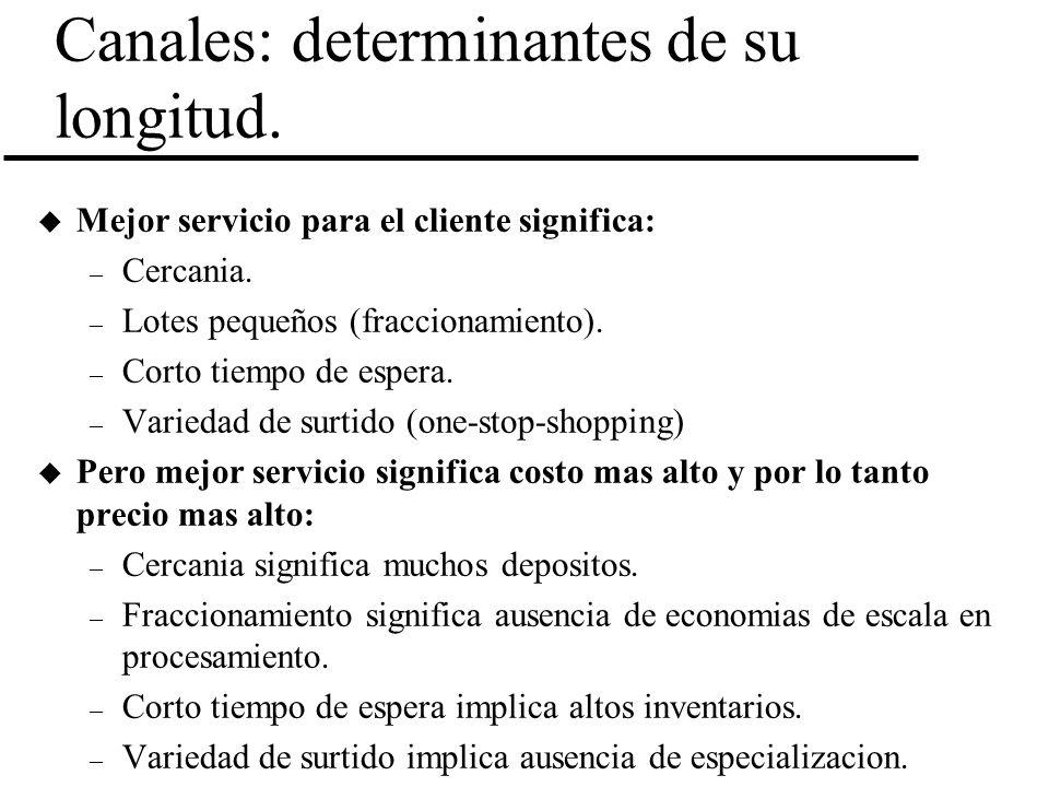 Canales: determinantes de su longitud. u Mejor servicio para el cliente significa: – Cercania. – Lotes pequeños (fraccionamiento). – Corto tiempo de e