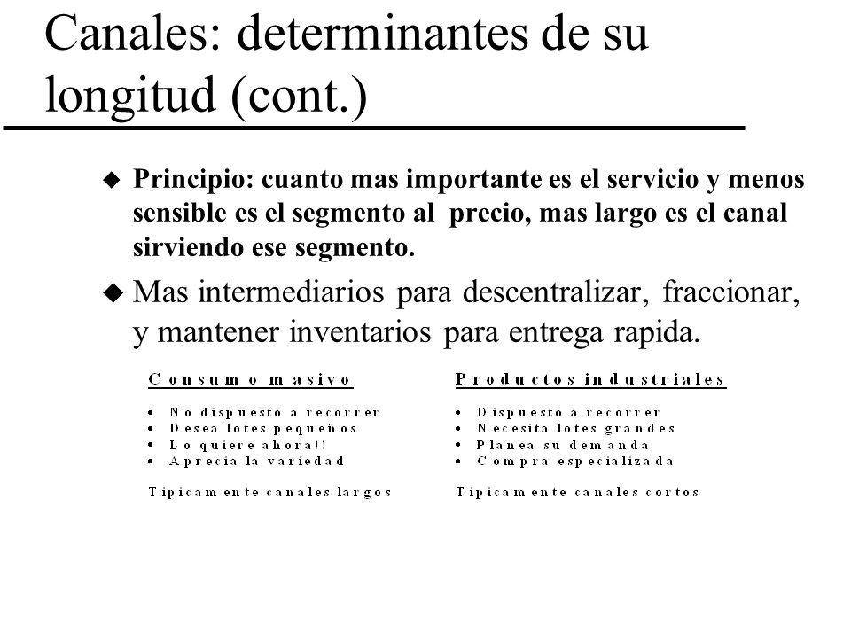 Canales: determinantes de su longitud (cont.) u Principio: cuanto mas importante es el servicio y menos sensible es el segmento al precio, mas largo e