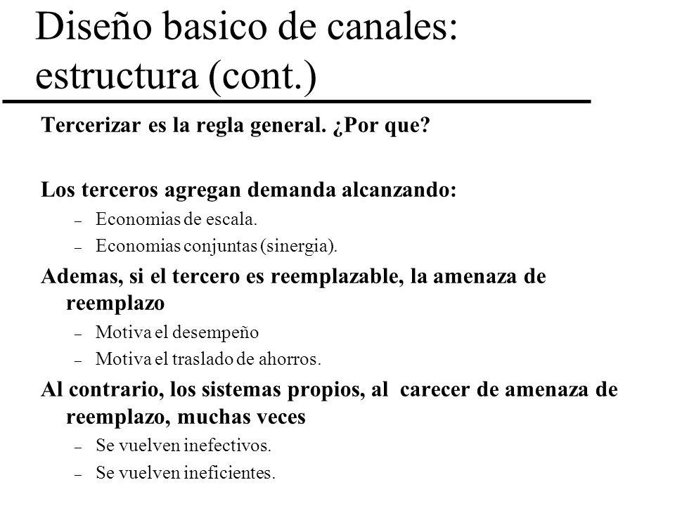 Diseño basico de canales: estructura (cont.) Tercerizar es la regla general. ¿Por que? Los terceros agregan demanda alcanzando: – Economias de escala.