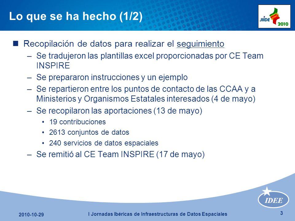 IDEE 4 2010-10-29 I Jornadas Ibéricas de Infraestructuras de Datos Espaciales Lo que se ha hecho (2/2) Redacción del informe 2006-2009 –Se preparó un borrador de documento –Se repartió entre los puntos de contacto de las CCAA y a Ministerios y Organismos Estatales interesados (21 de junio) –Se recopilaron los comentarios/modificaciones (10 de julio) 8 aportaciones –Se remitió al CE Team INSPIRE en español e inglés (27 de julio)