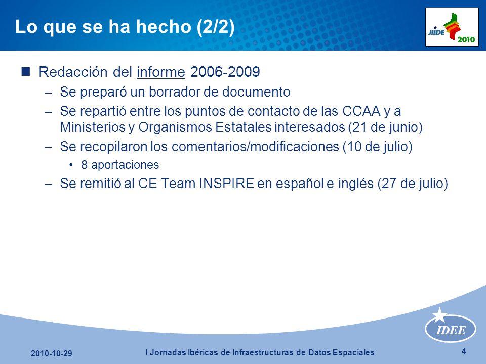 IDEE 5 2010-10-29 I Jornadas Ibéricas de Infraestructuras de Datos Espaciales Lo que se ha obtenido Publicación de los resulados en www.idee.eswww.idee.es Primer análisis del seguimiento : ponencia en JIIDE 2010 Muñoz, J.