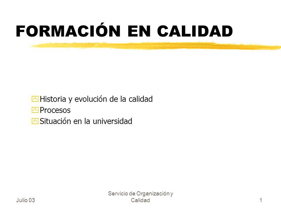 Julio 03 Servicio de Organización y Calidad1 FORMACIÓN EN CALIDAD yHistoria y evolución de la calidad yProcesos ySituación en la universidad