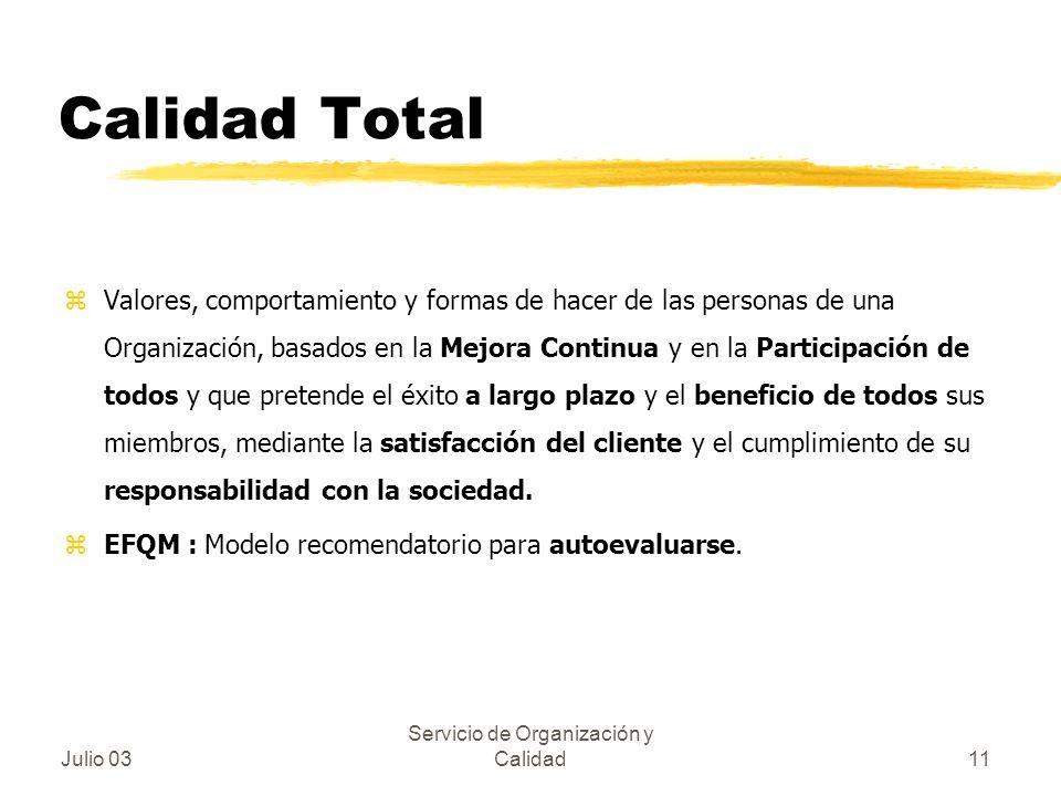 Julio 03 Servicio de Organización y Calidad11 Calidad Total zValores, comportamiento y formas de hacer de las personas de una Organización, basados en